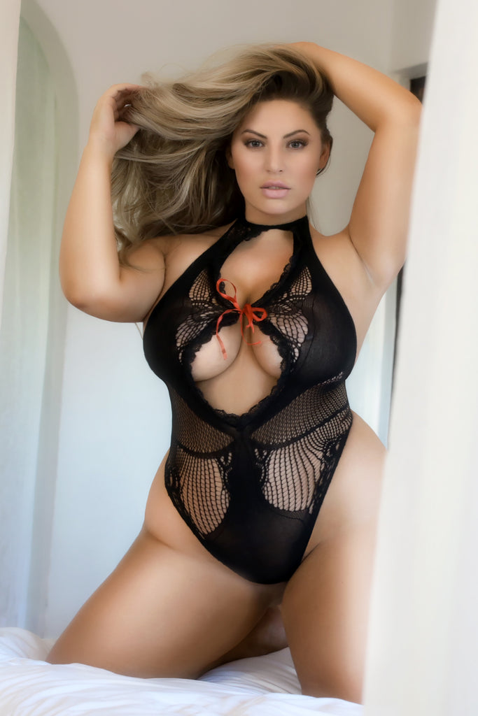 Plus Size Lace Vixen Fishnet Teddy Bodystocking