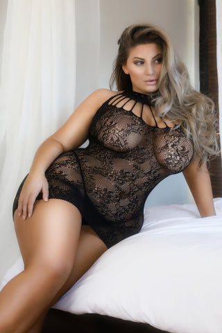 Plus Size Heat of the Night Choker Neck Bodystocking