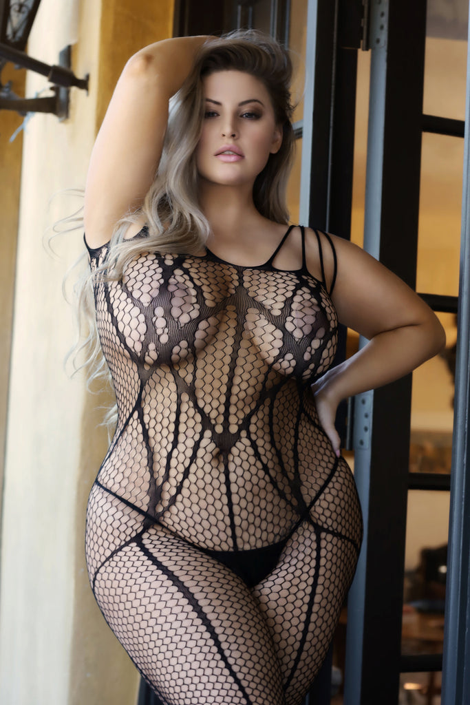 Plus Size Reveal Striped Design Fishnet Bodystocking