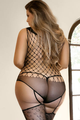 Plus Size Make you Roar Fishnet Bodystocking