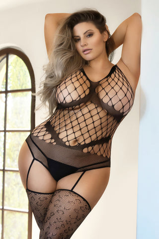 Plus Size Lights Out Choker Neck Fishnet Bodystocking