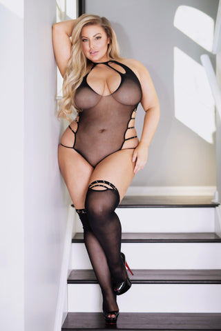 Plus Size Fiery Criss Cross Bodystocking Dress