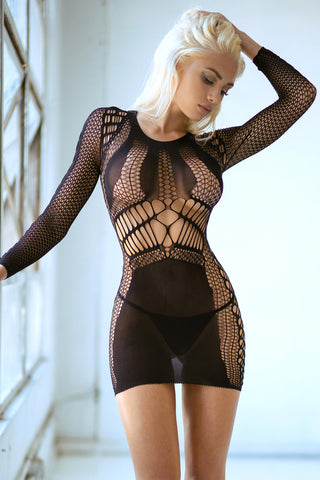 I Heart You Off Shoulder Fishnet Bodystocking Dress