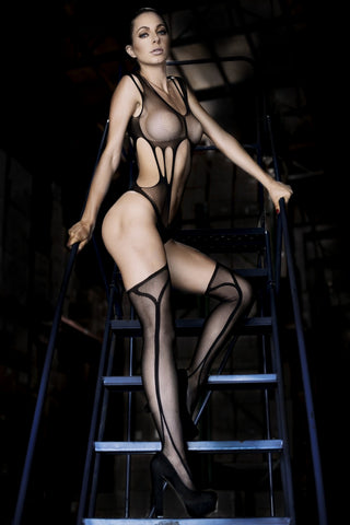 Nothing to Hide Cut-Out Fishnet Bodystocking