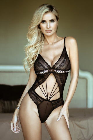 Crochet Applique Mesh 2-Piece Lingerie Set