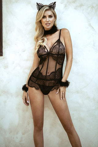 XOXO Lace Bodystocking with Attached Garter Tights