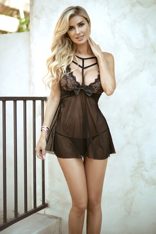 Sexy Secret Lace Ribbon Tie Bodysuit