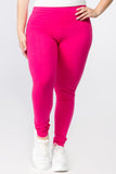 hot pink plus size cotton leggings