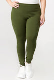 plus size green basic leggings