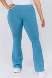 slate blue cotton flare legging