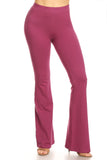plum high waisted cotton flare leggings