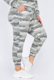 Plus Size Relaxed Green Camo Print Joggers