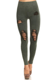 dark green distressed moto legging