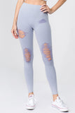 blue distressed legging