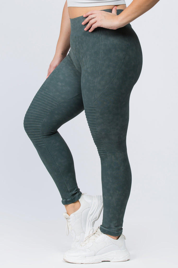 Plus Size Mineral Washed Moto Style Leggings