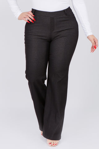 Plus Size Denim Flare Cotton Blend Pants