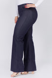 denim plus size flare pants