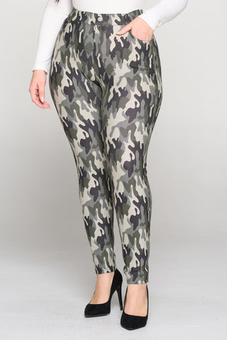 Plus Size In Command Camo 5-Pocket Jeggings with Belt Loops