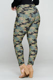 Plus Size Camouflage 5-Pocket Jeggings with Belt Loops