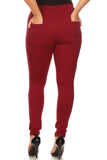 wine red plus size skinny pants