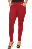 wine red plus size pants
