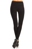 black ponte knit pants skinny fit tummy control
