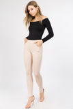 dusty mauve camel skinny slacks for women