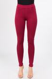 burgundy high waist trouser skinny pants for women work office