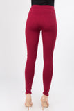 wine red high waisted skinny ponte pants