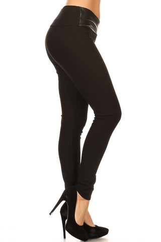 Casanova Faux Leather Wrap Waist Ponte Leggings