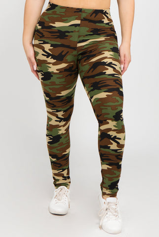Plus Size Take Command Camouflage Print Leggings