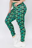 Plus Size Lucky Green Clover Printed Leggings