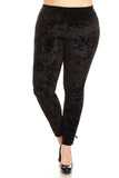 black crushed vevlet leggings plus size