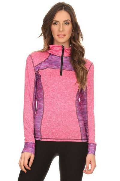 pink purple long sleeve workout jacket for women