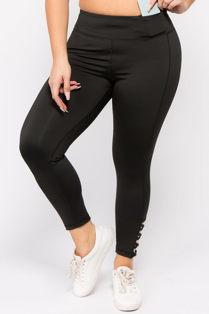 black high waisted active leggings for plus size