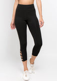 black high rise leggings with straps