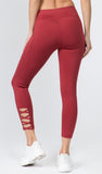 red cut out leggings