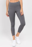 light grey women's high waisted active leggings