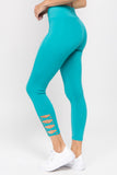 turquoise high waisted crop leggings with lattice