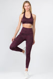 burgundy sports bra high waisted leggings