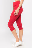 red high rise active capris for women yoga pilates