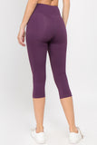 purple high rise capri leggings 7/8 length workout trousers