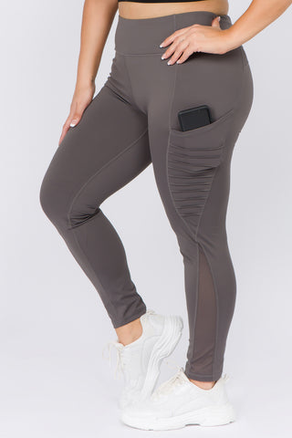 Plus Size Active Moto & Mesh Pocket Leggings