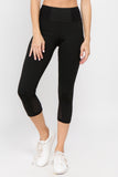 black high waisted crop leggings with pockets