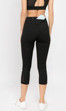 black mesh capri leggings with pocket