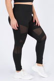 Plus Size Hit or Mesh Active Leggings with Pocket
