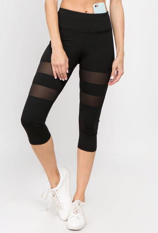 Cara Mesh Striped Capri Legging