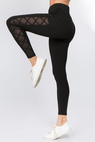 Jersey Mesh Panel Active Leggings