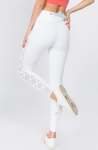 Lace Up Active Mesh Workout Pocket Leggings