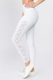 non see through white active leggings for women